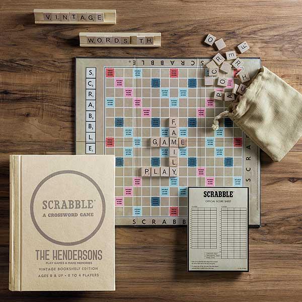 Scrabble Personalized Vintage Bookshelf Edition Board Game Vintage Bookshelf Scrabble Board Scrabble Board Game