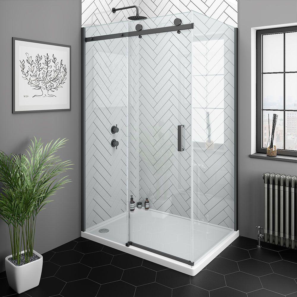 Arezzo Matt Black 1200 X 700mm Frameless Sliding Door Shower Enclosure Victorian Plumbing Uk In 2020 Frameless Sliding Doors Shower Enclosure Black Shower Doors