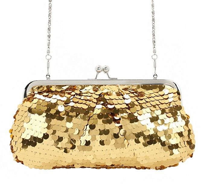 Noble Glitter Gold Sequin Women's Evening Bag Clutch Bag with Shoulder Chain