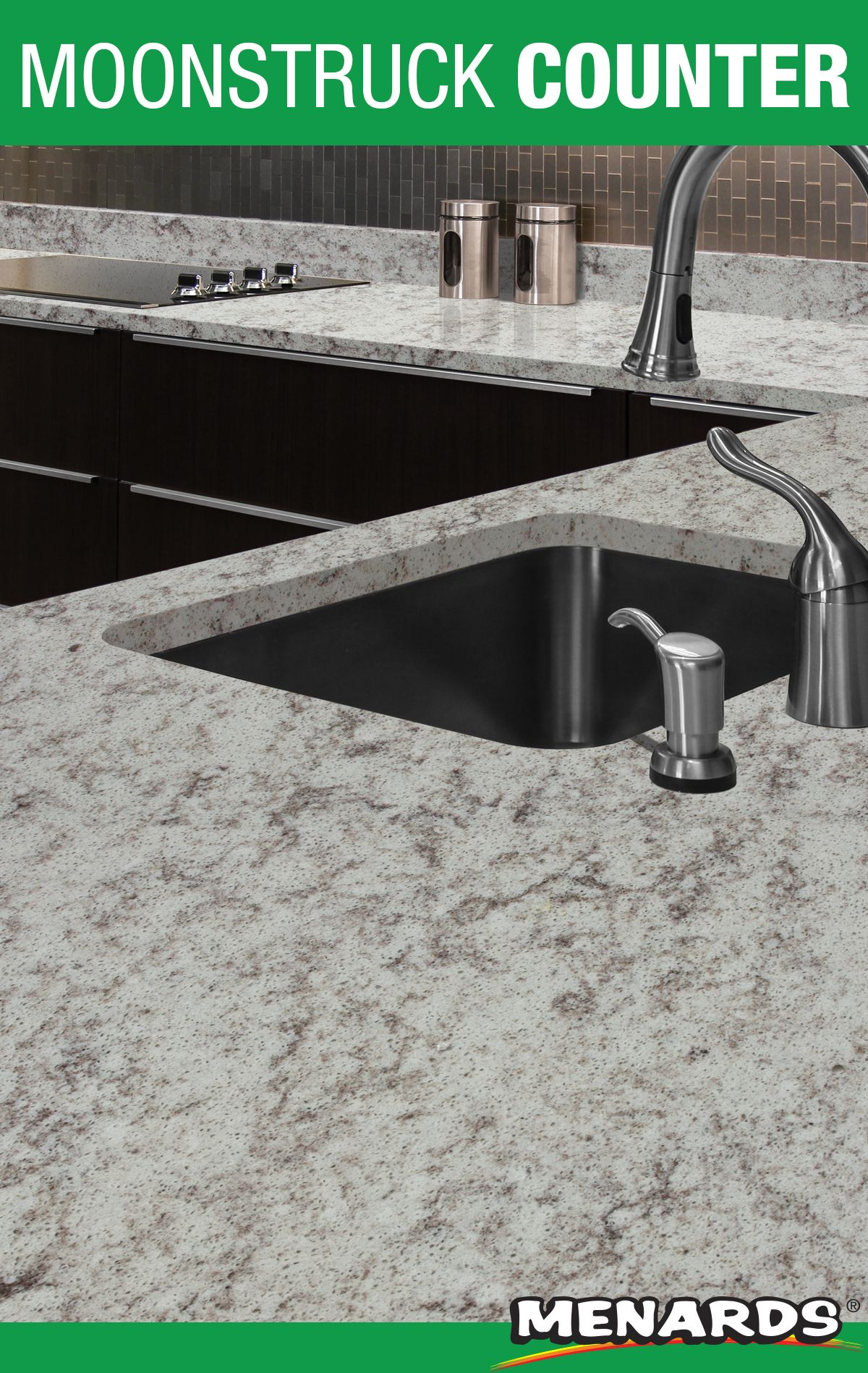 This Moonstruck Countertop Will Transform Your Kitchen From Ordinary To Luxurious It Pairs Well With Black Ca Laminate Countertops Menards Kitchen Countertops