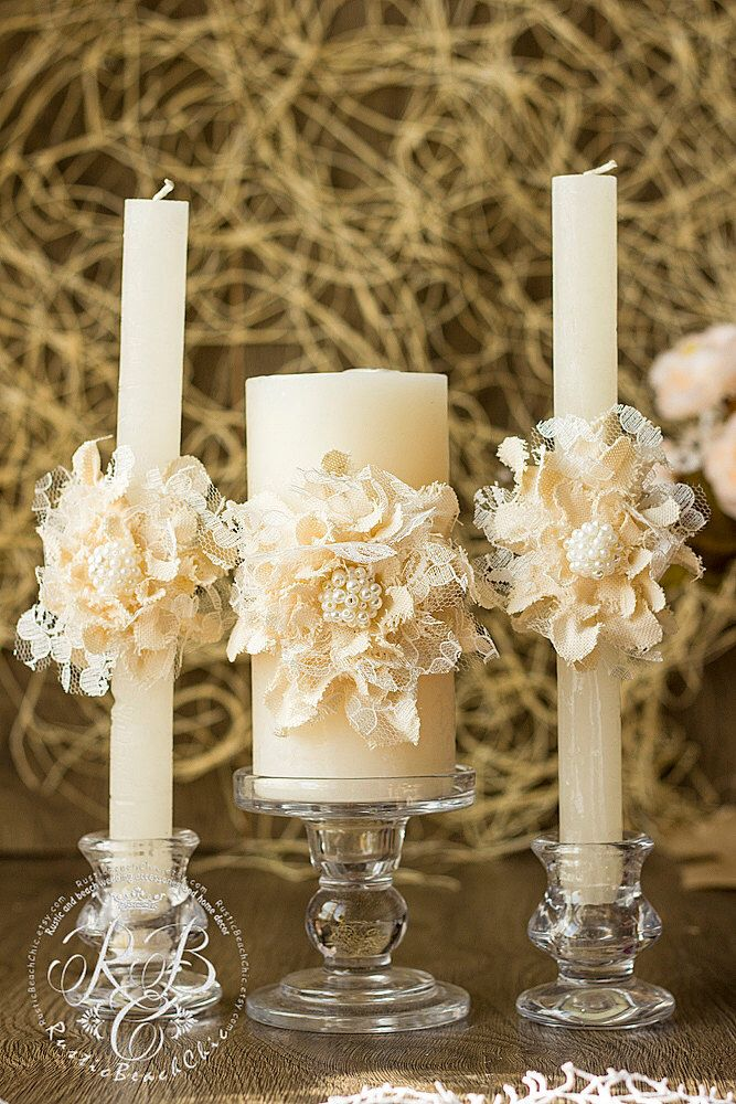 Ivory Wedding Unity Candles Handmade Flower Rustic Ideas Pillar Country Barn Vintage Candle Set 3pcs By Rusticbeachchic