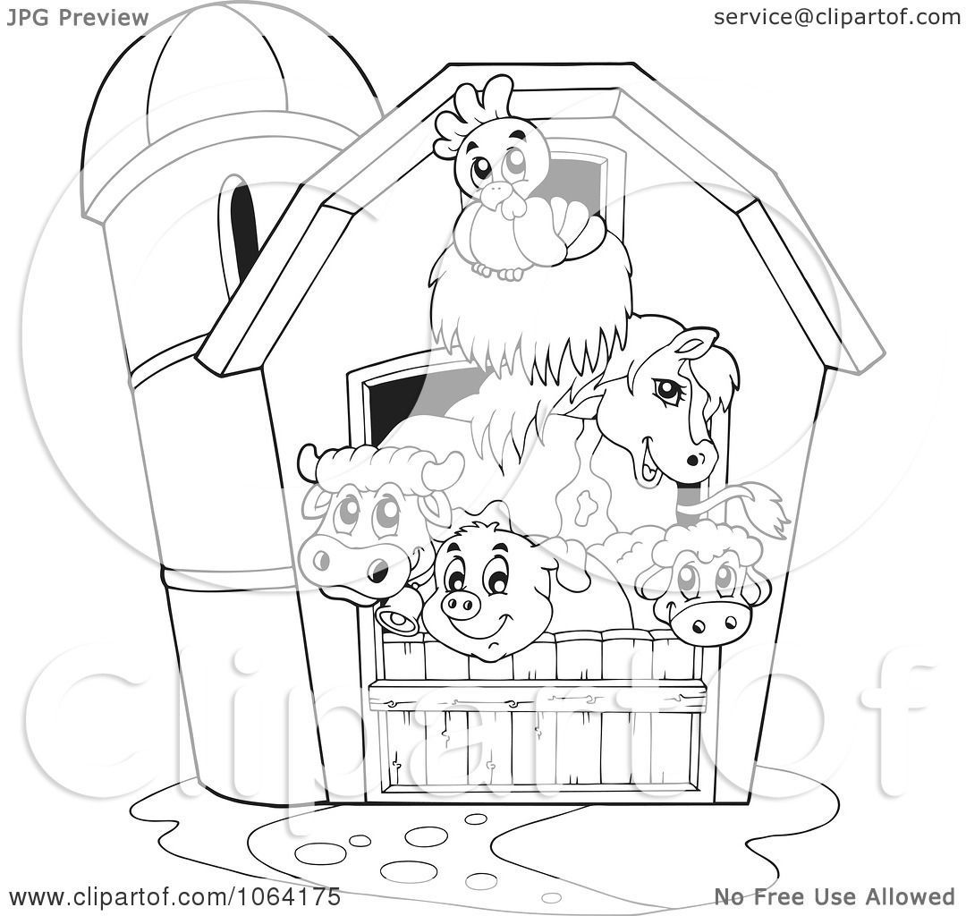 Clipart Outlined Barnyard Animals In A Barn Royalty Free
