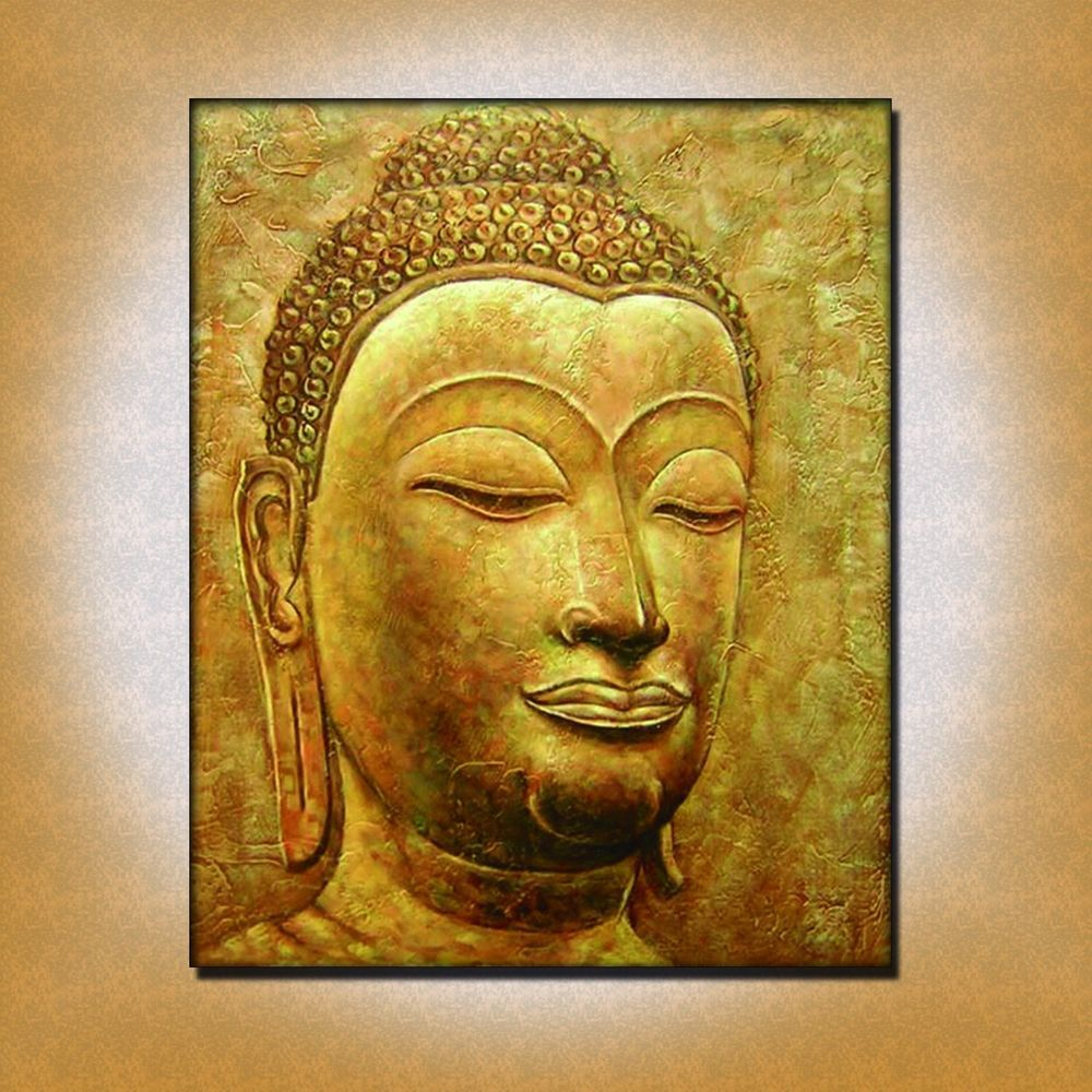 HUGE BUDDHA OIL PAINTING RELIGIOUS ART ON CANVAS GOLD COLOR HAND ...