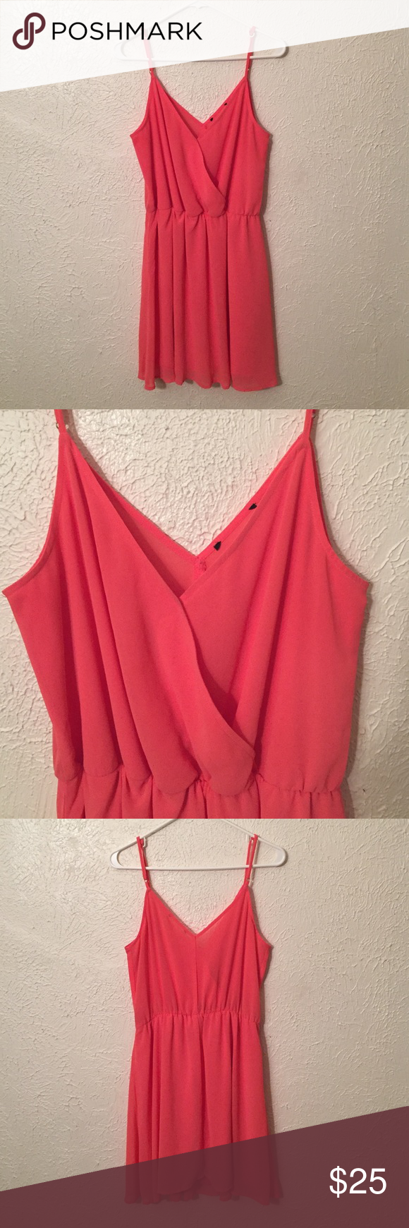 Coral Chiffon Skater Dress Adjustable straps, flattering waist. I cut the label off for a wedding but didn't leave a hole. (: Dresses