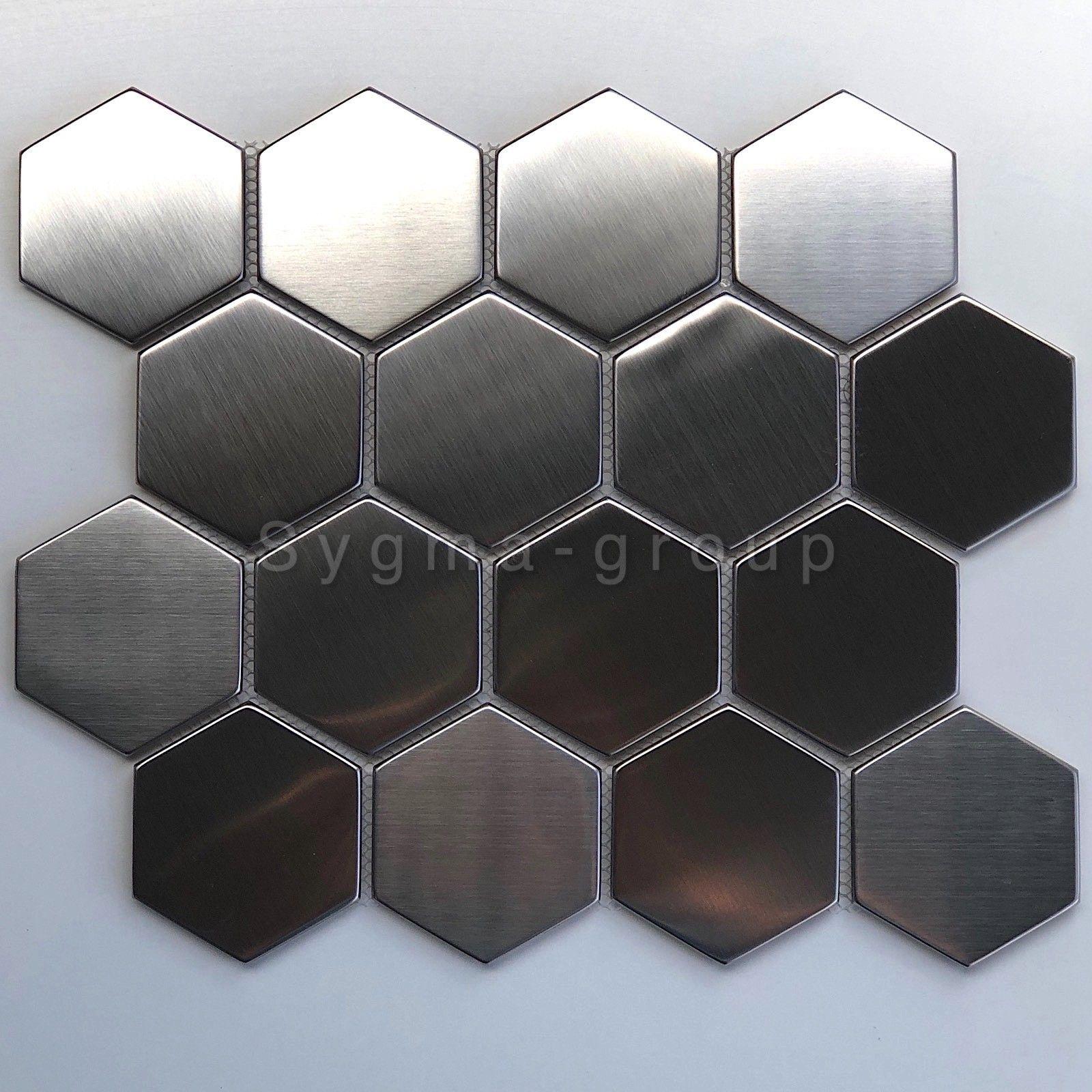 - Tile Hexagonal Metal Mosaic Brushed Kitchen Backsplash Kiel