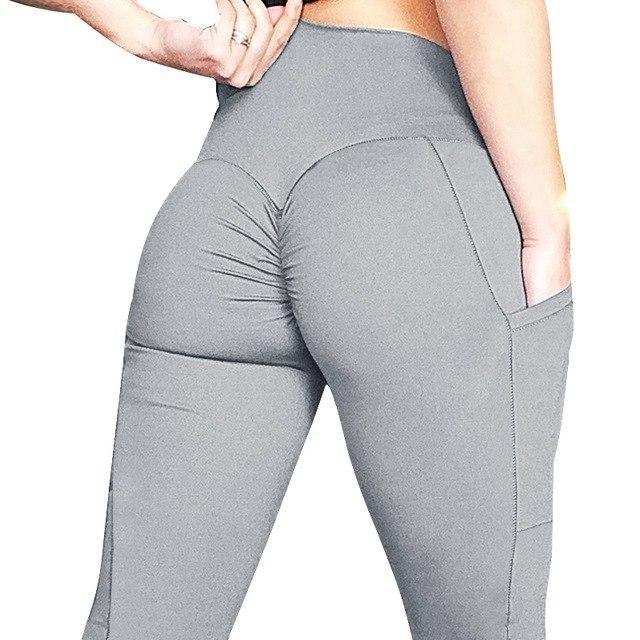 Christmas Pocket Push Up Women Leggings Solid Color High Waist Workout Fitness Leggings Women Trim L...