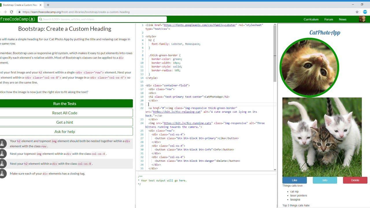 12 31 Bootstrap Create A Custom Heading Learn Freecodecamp