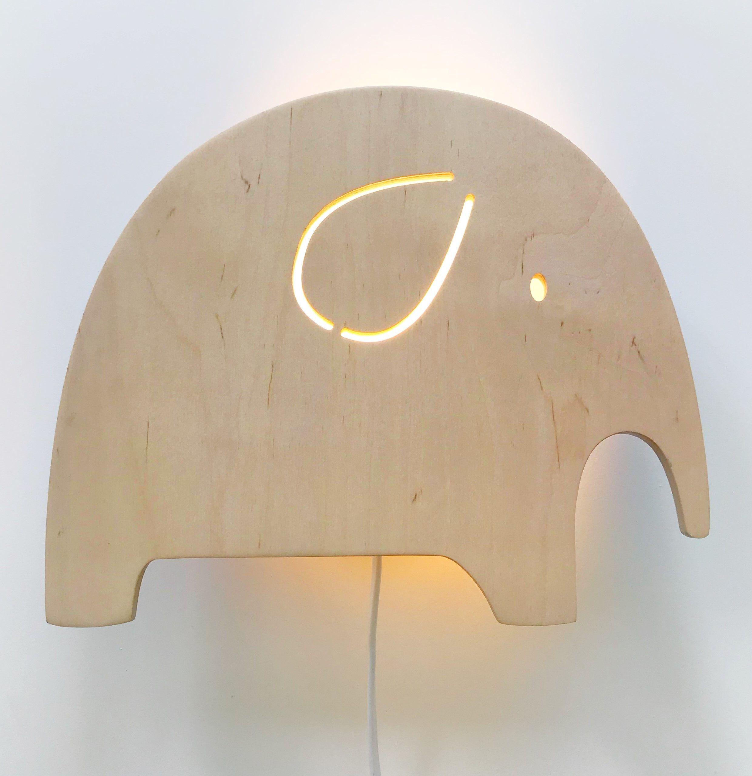 Night Light Wooden Elephant Scandinavian Minimalist Style Hout Babykamer