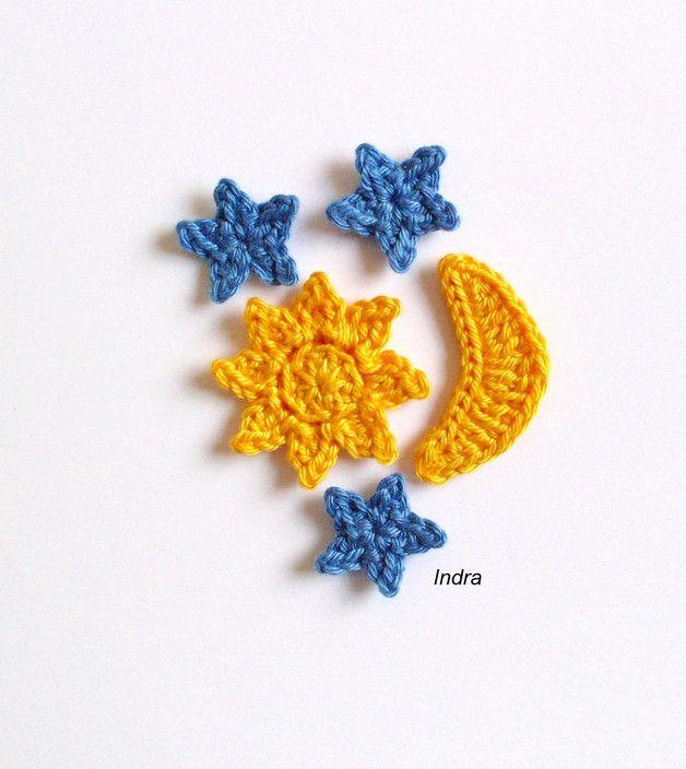 Sonne Mond Sterne Gehäkelt Häkelapplikation S Z Y D E L K O 9