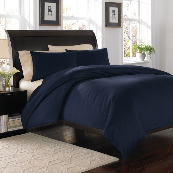 Royal Velvet Navy 400 Duvet Cover Set 100 Cotton Bed Bath