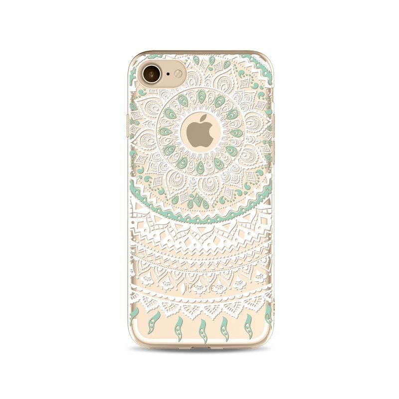 Coque iPhone 6 / 6S Grand Mandala Blanc & Vert   Accessoires ...