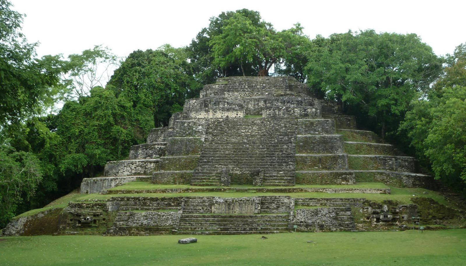 The Jaguar Temple at Lamanai, Belize, just after the tour group left