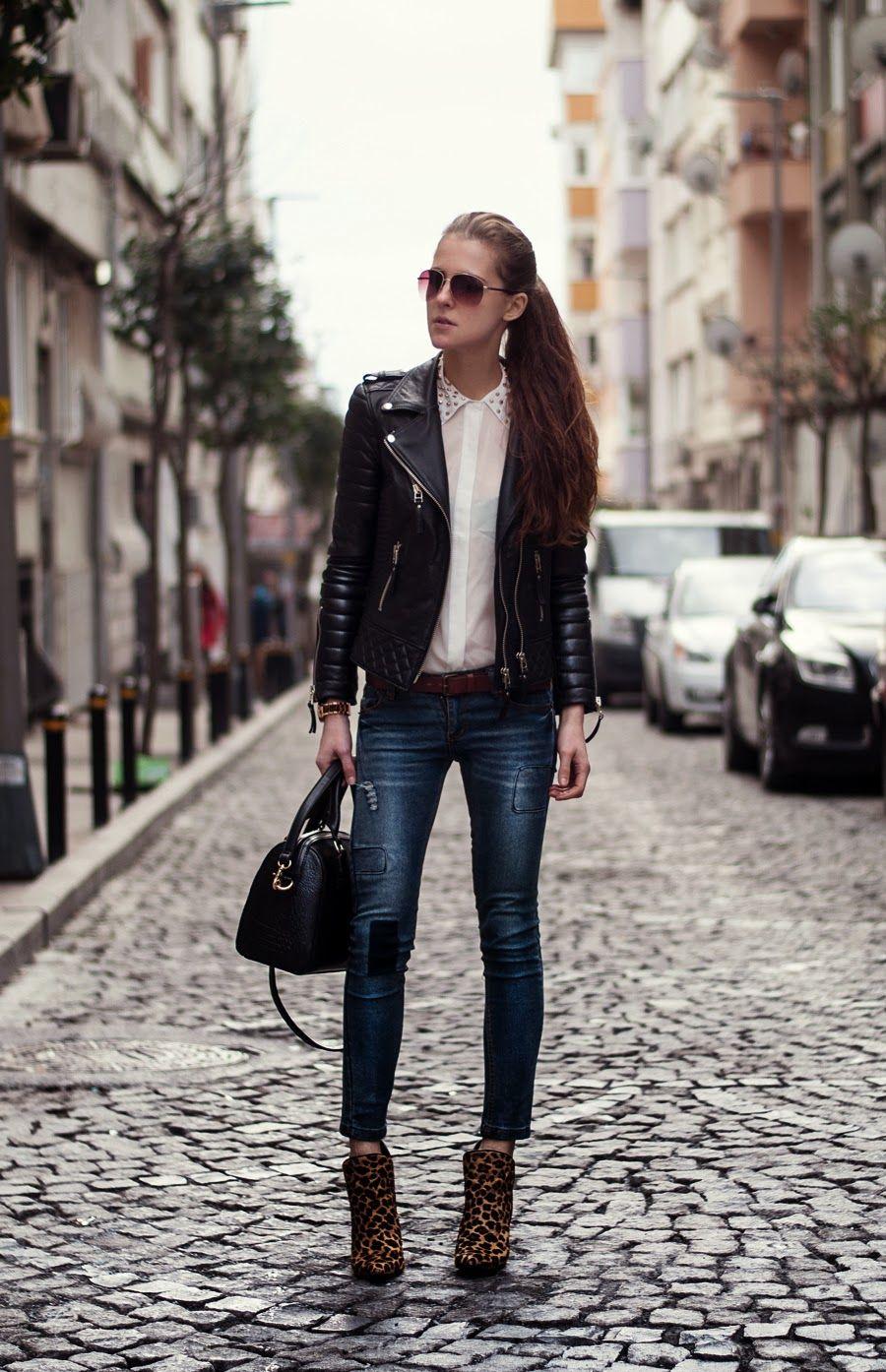 Veste jean et cuir femme