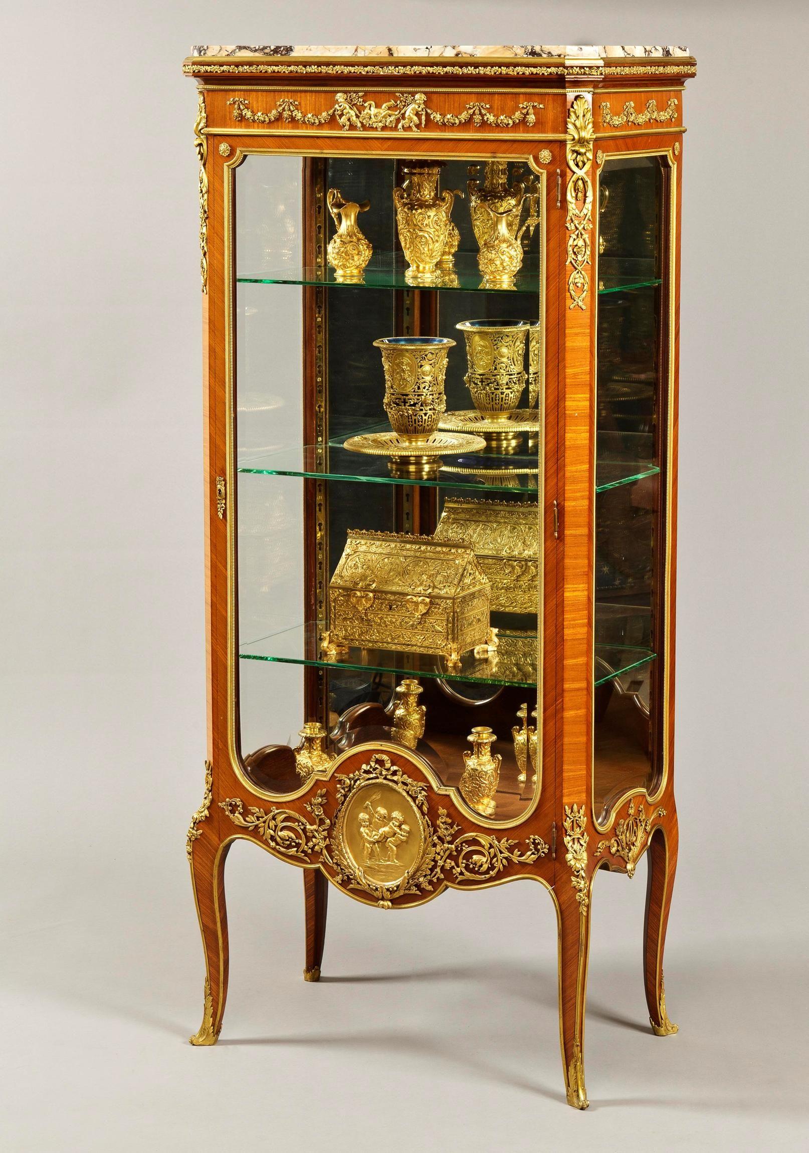 Francois Linke A Splendid Transitional Antique Display Cabinet By