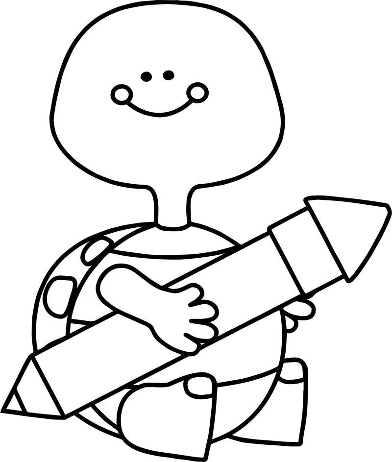 Turtle Holding Pen Coloring Page Printable Coloring Pages