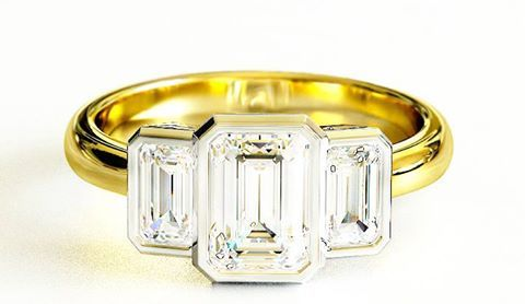 Emerald cut three stone #engagement #rings in yellow gold. Contact us for Best Price!
