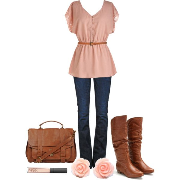 """Pink & Brown"" by qtpiekelso on Polyvore"