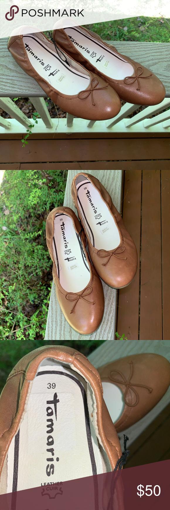 Tamaris 39 Ballet Flats Leather Memory Foam NEW