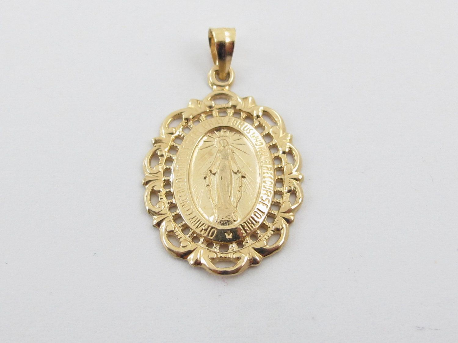 14k Yellow Gold Miraculous Virgin Mary Medal Charm Pendant By Karatcarat On Etsy Charm Pendant Virgin Mary Pendant