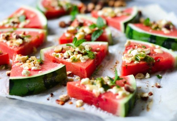 Watermelon tapas - grilled, juicy watermelon with golden cheese - A tasty love story