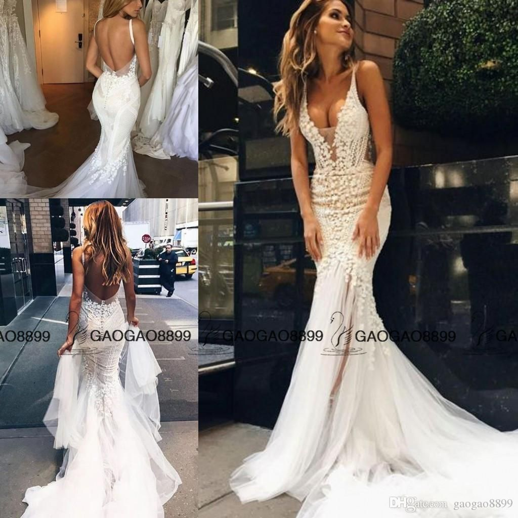 Beach wedding dresses mermaid style  Pallas Couture  Lace Floral Long Train Mermaid Beach Wedding