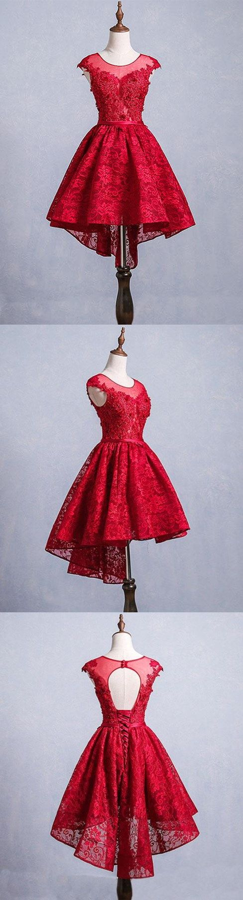 High low homecoming dresses scoop aline red short prom dress lace