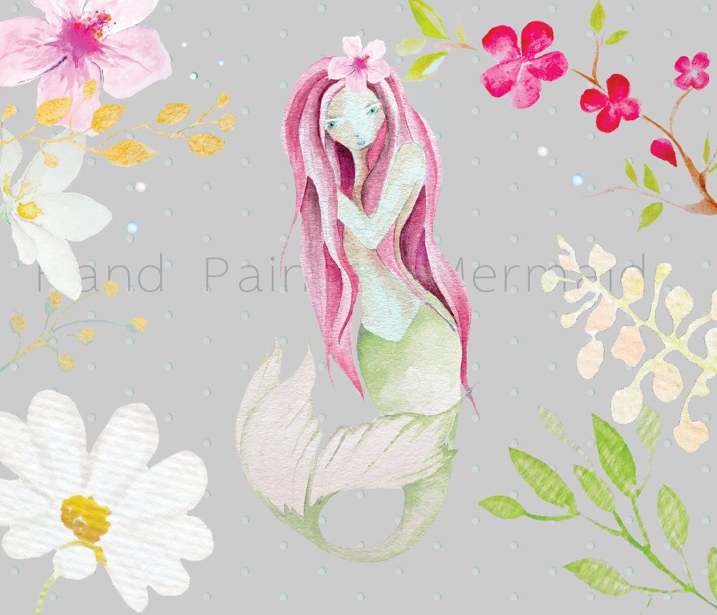 hand painted watercolor mermaid clip art mermaid wreath nautical