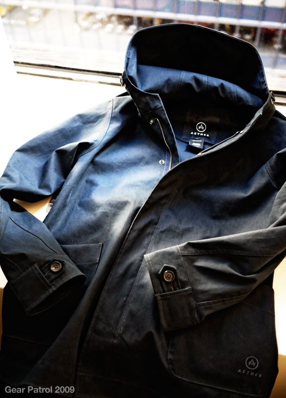 Aether Stormy Jacket; Constructed of an Italian heavy duty bonded cotton/poly fabric.