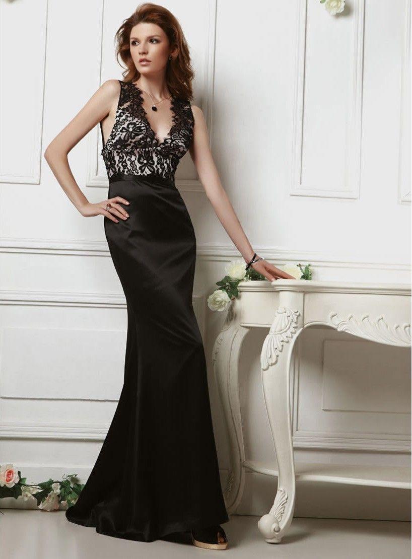 Silk heavy satin deep vneck neckline bodice full length aline prom