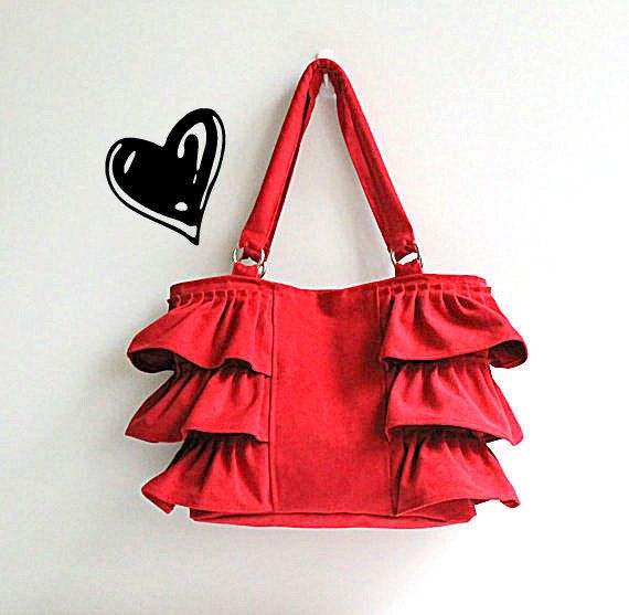 Flamenco in Carmine Red / Canvas Ruffles Bag / High Fashion / Shoulder Bag / Mothers Day / Zipper Closure /Large /Deep Red / ruby /cherry on Etsy, $42.00