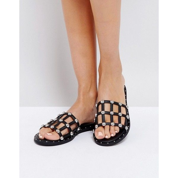 68231e0b8bf7 Missguided Stud Detail Sandal (€32) ❤ liked on Polyvore featuring shoes