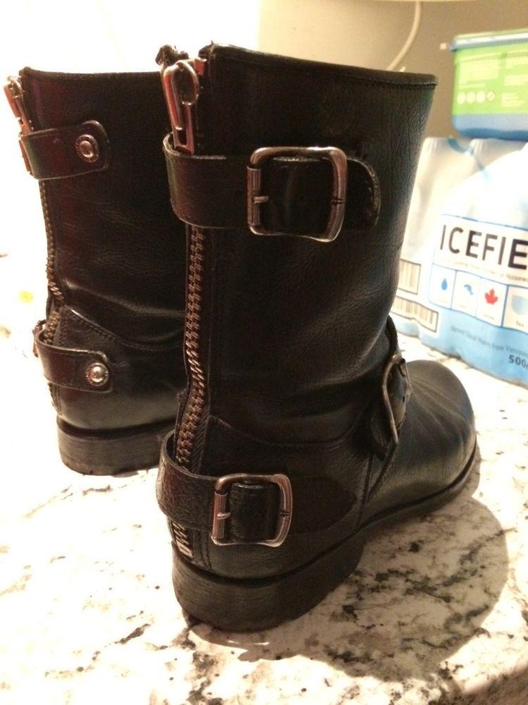 b44faae6d9e Frye Womens 7.5 B Veronica Short Black Leather Harness Biker Boots ...