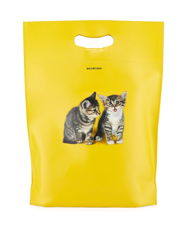 Balenciaga Men S Small Kitten Graphic Leather Shopper Tote Bag Balenciaga Bags Leather Hand Bags Tote Shopper Tote Balenciaga Bag Small Kittens