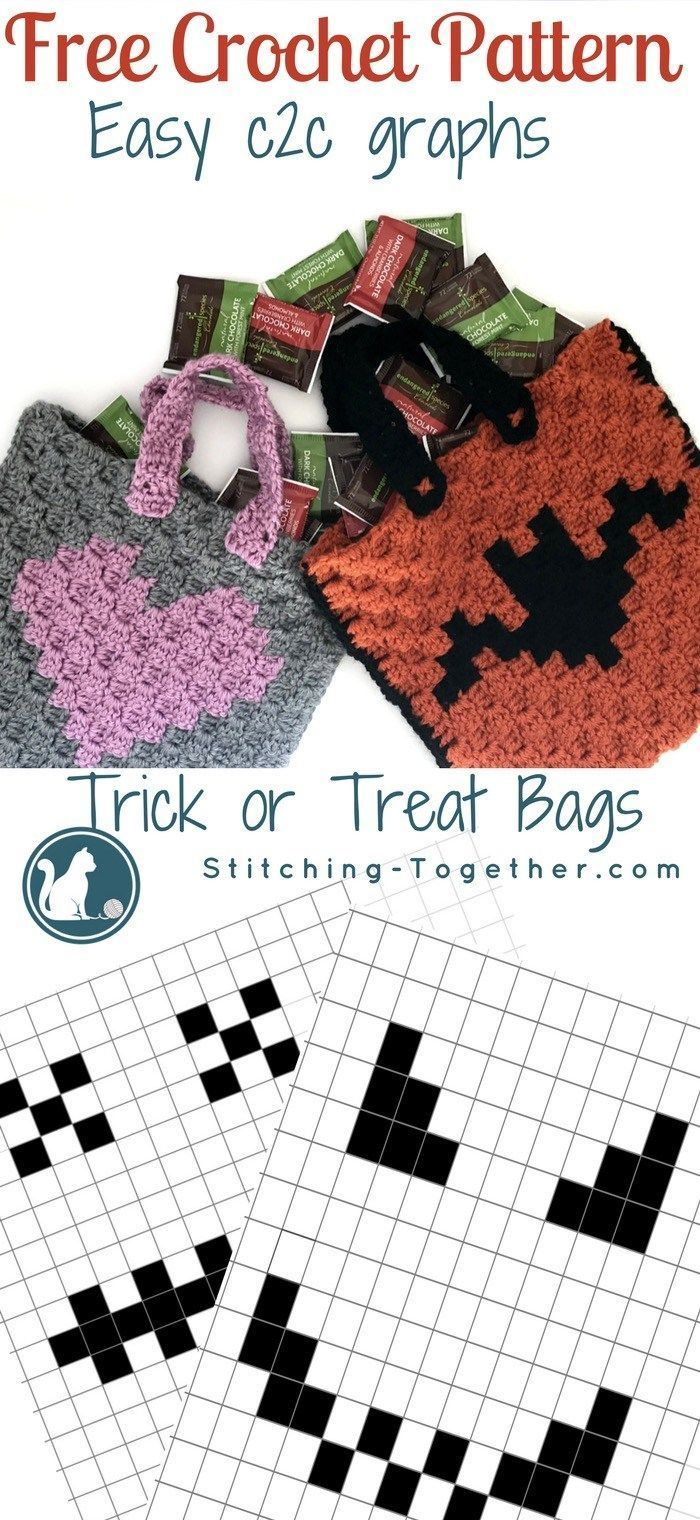 Halloween Trick or Treat Bags - Free Crochet Pattern | Graph crochet ...