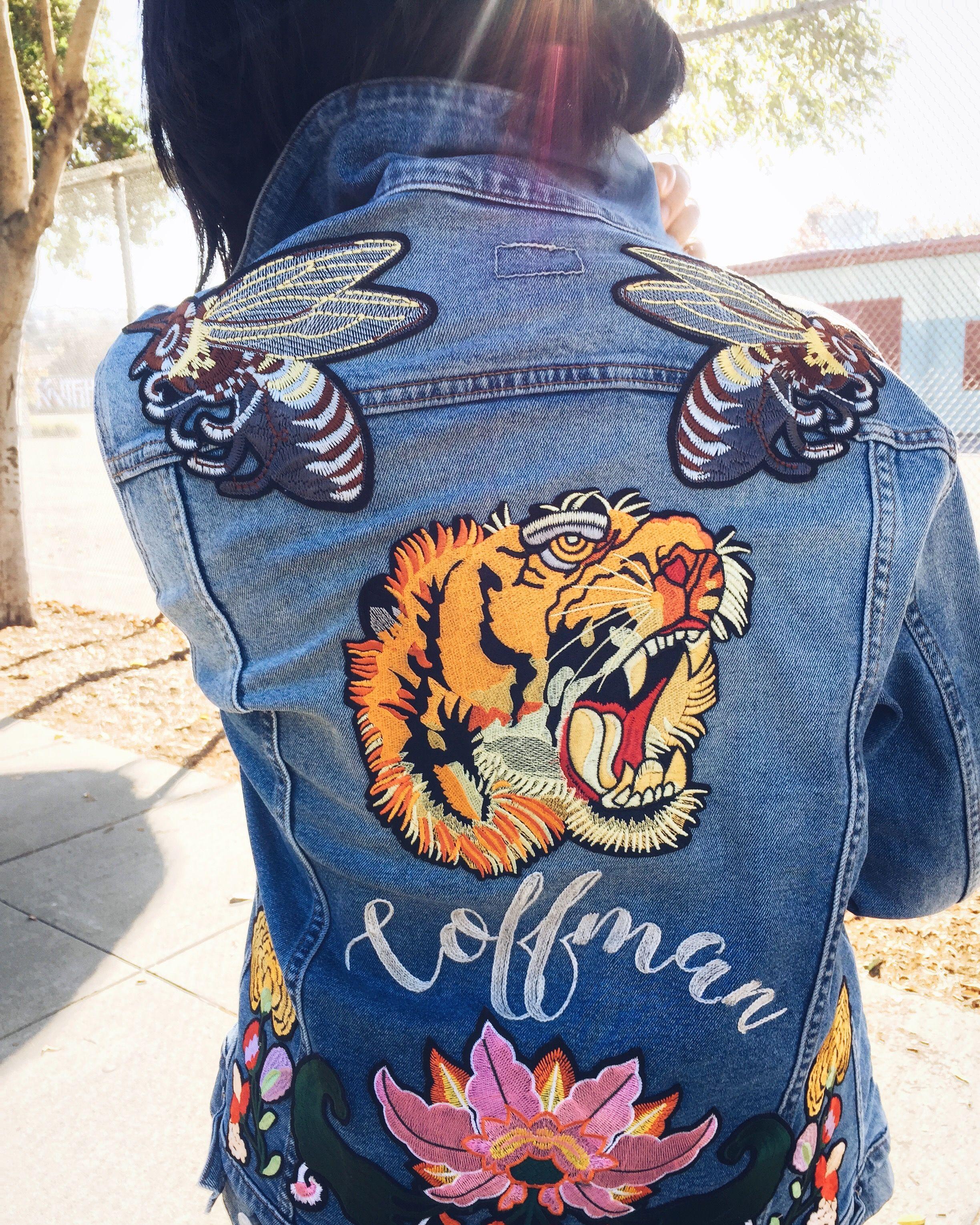 Diy embroidered patch denim jacket denim jacket patches