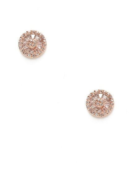 Round Rose Gold & CZ Stud Earrings by Mary Louise Designs ...