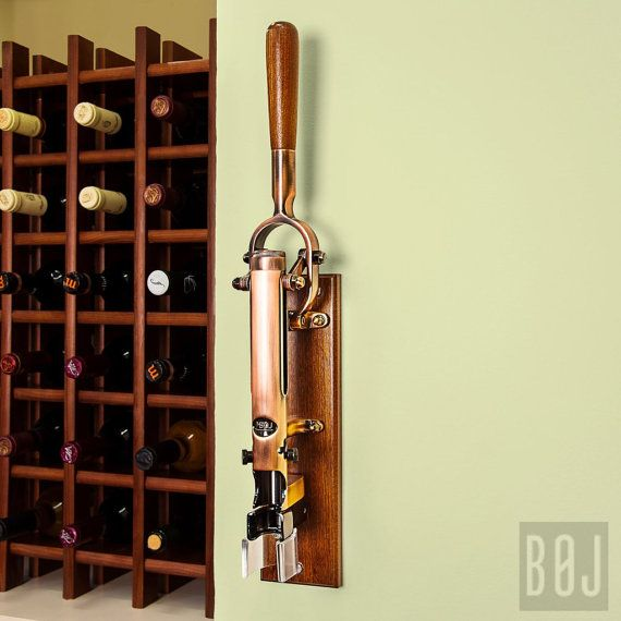 Professional Wall Mounted Corkscrew With Wood Backing Boj