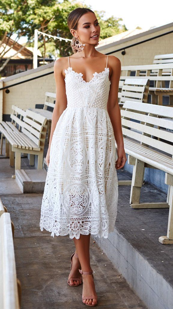 Shop Dresses For Women Tea Length Dresses With Sleeves For Wedding Guest White Eyelet Dress 50s Dresses Wh White Dress Summer Lace Dress Boho Lace White Dress