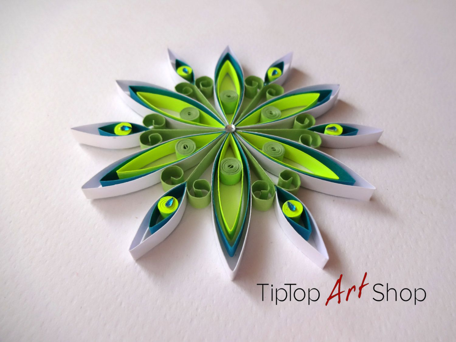 Paper Quilling Snowflake Ornament for Your Christmas Decoration; Neon Yellow, Green, Blue, White;Gift Packaged; by TipTopArtShop on Etsy https://www.etsy.com/listing/207849563/paper-quilling-snowflake-ornament-for