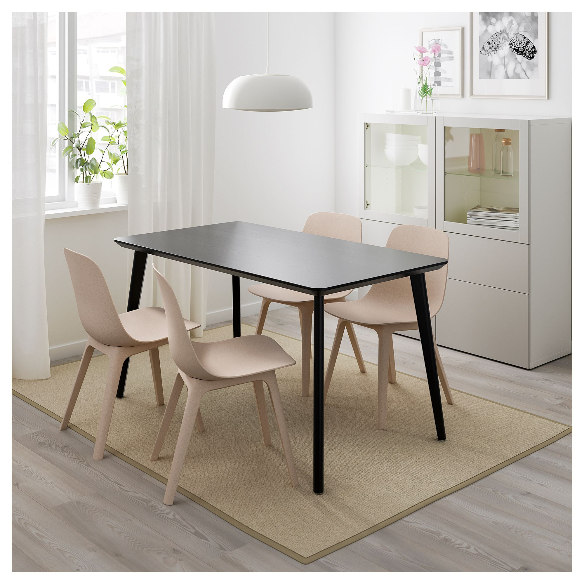 IKEA LISABO / ODGER Table and 4 chairs black, beige