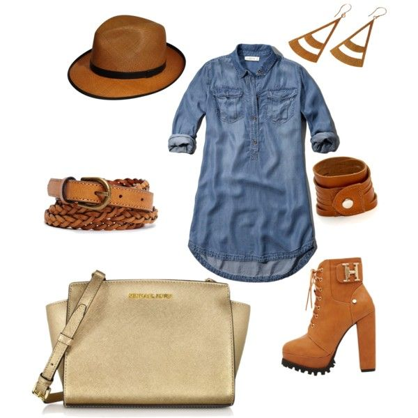 jeans dress by eileen-salguera on Polyvore featuring polyvore fashion style Abercrombie & Fitch Michael Kors Yuwei Lee ATELIERBITS Forever 21