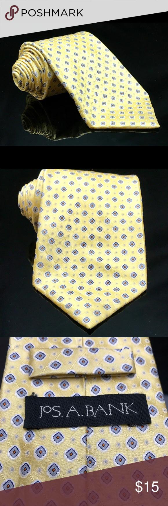 JoS A Bank Geometric Yellow Paisley Silk Neck Tie JoS A