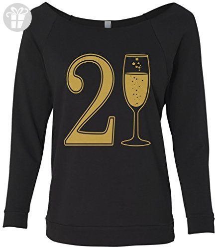Threadrock Womens 21st Birthday Champagne Raw Edge Raglan Shirt S Black