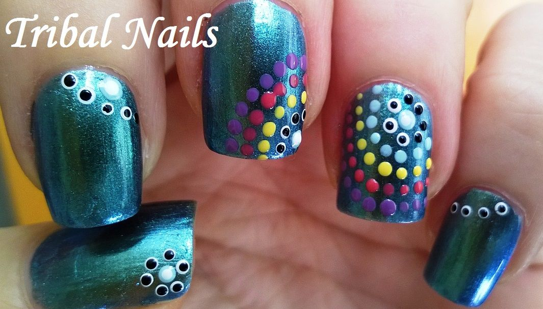 Sparkly Greenish Blue Tribal #nailart - Cute #naildesigns For more ...