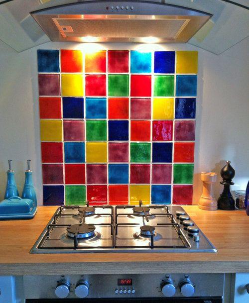 Glass On Glass Multi Colour Tile Splashback Colorful Kitchen