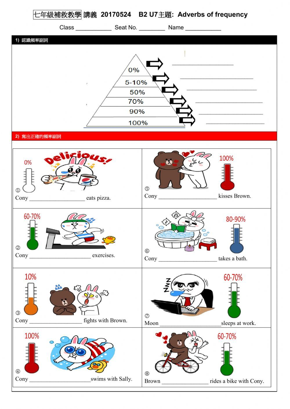adverbs of frequency online and pdf worksheet. You can do