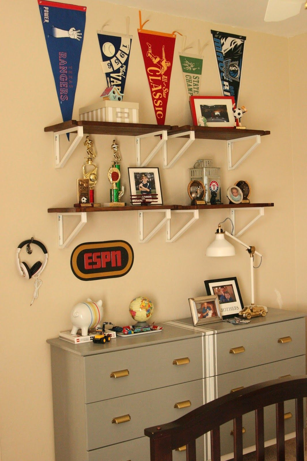These brackets with white shelves would disappear into a white wall. Ikea Tarva- Ikea Brackets