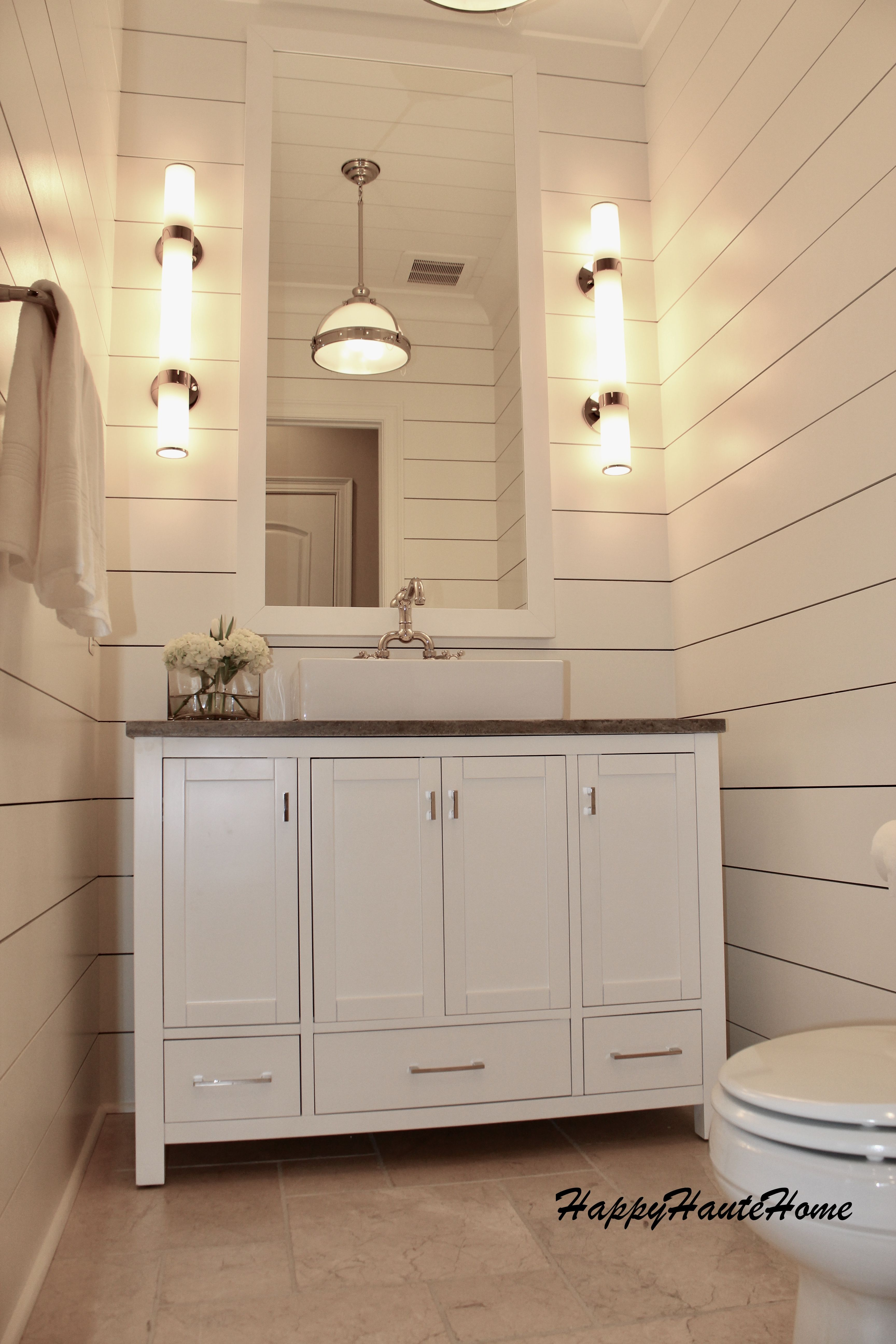 Shiplap Bathroom Gets A Major Reno Using 10 Shiplap Boards 36 Wall Sconces Travertine Countertop Shiplap Bathroom Shiplap Bathroom Wall Powder Room Remodel