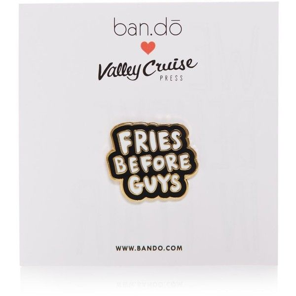 ban. do Flair Pin, Fries Before Guys (485 DOP) ❤ liked on Polyvore featuring jewelry, brooches, black, pin brooch and pin jewelry