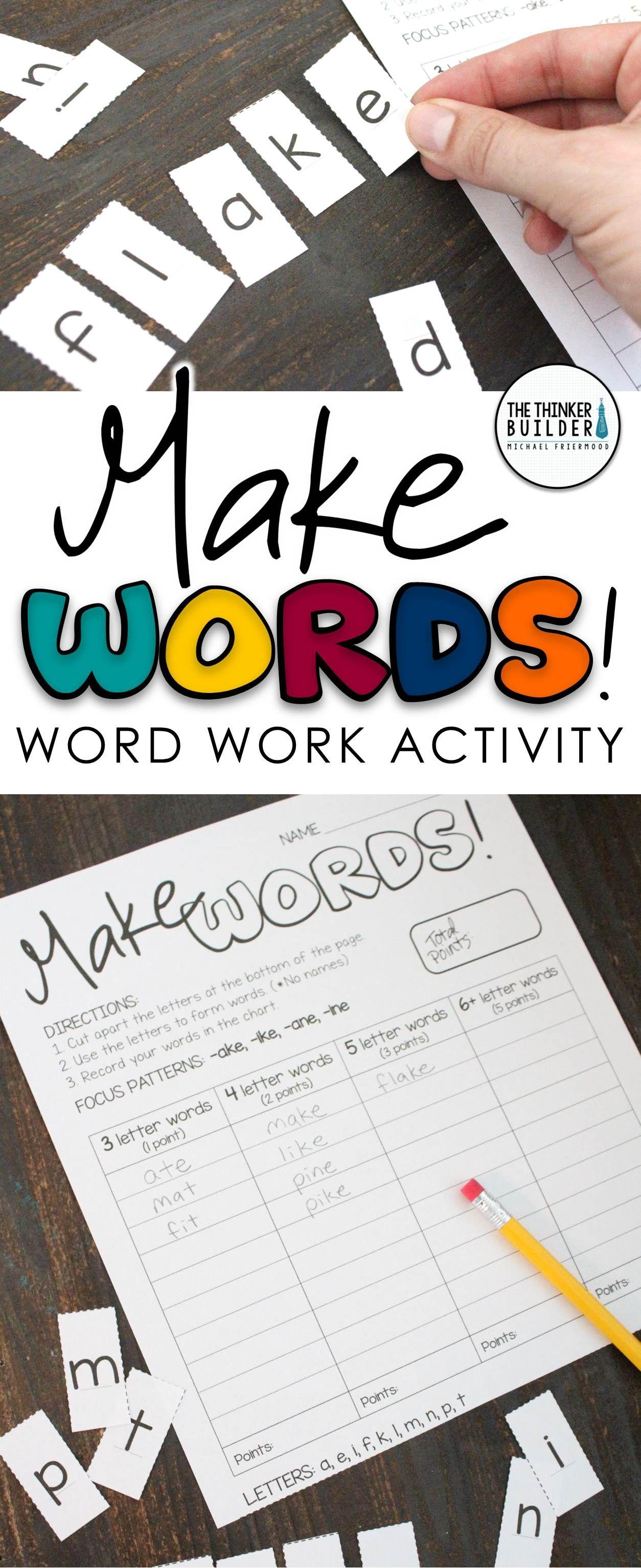 Make Words Word Work Word Study Activity